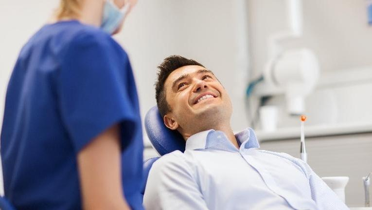 Man In Dentist Chair | AllDent Dental Center | Dentist in Poway CA